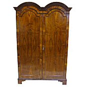 antique figured walnut double wardrobe