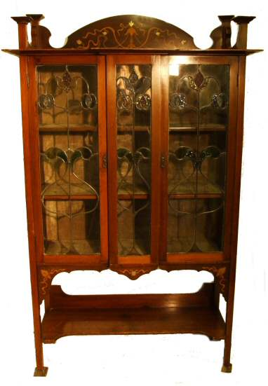 Stain Glass Art Nouveau Mahogany Display Cabinet From