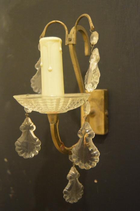 Pair of Mid 20th Century Brass and crystal wall Lights