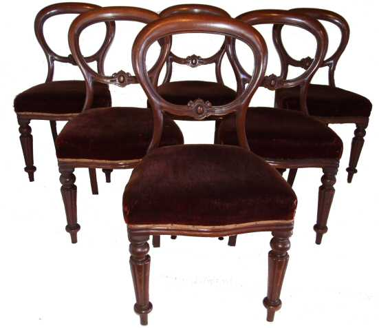 6 Victorian Mahogany Balloon Back Dining Chairs From Harbour Antiques,  North Devon