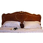 queen size birds eye maple and gilt italian antique bed