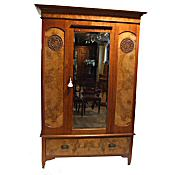 Edwardian walnut wardrobe