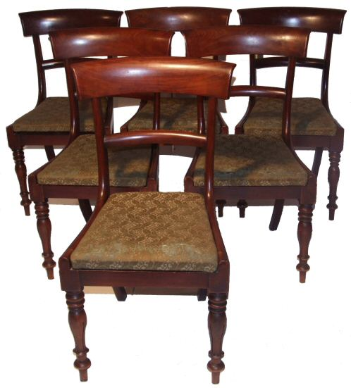 Set of 6 victorian bar back mahogany dining chairs from harbour