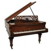 antique walnut baby grand piano by Chappell