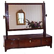 Georgian mahogany bowfront dressing table mirror