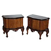 pair of Italian burr walnut bedside cabinets