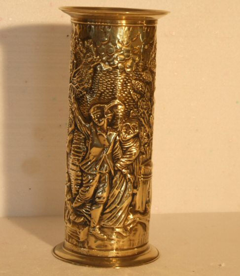 Brass Umbrella Stand Embossed: Brass Stick/umbrella Stand From Harbour Antiques, Bideford