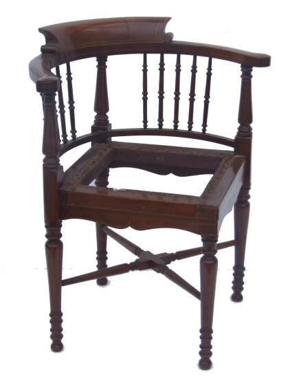 Edwardian mahogany inlaid corner chair from harbour Antiques, Hows yard,  New Road, Bideford, Devon, further pieces of antique upholstery including  antique ... - Edwardian Mahogany Inlaid Corner Chair From Harbour Antiques, Hows