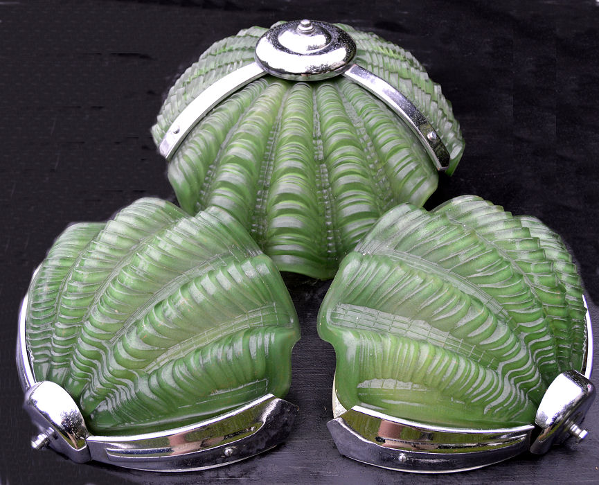 Green Art Deco Shell Ceiling Light with pair of matching art Deco