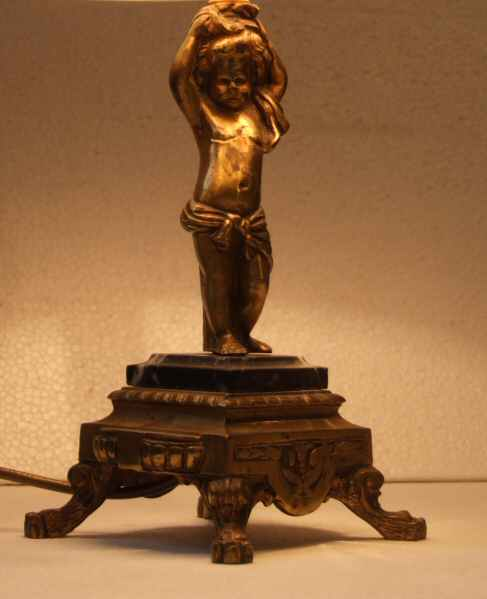 1930 French small antique brass table lamp of cherub from Harbour ...