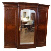 Victorian burr walnut combination wardrobe