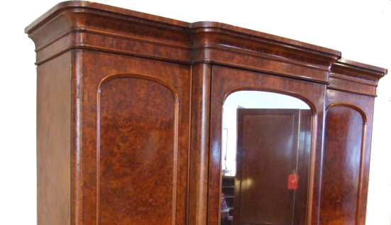 Victorian Burr Walnut Breakfront Combination Wardrobe