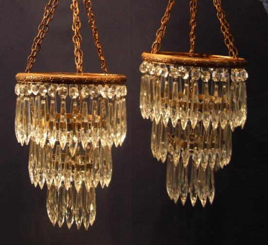 Beautiful pair of edwardian antique crystal chandeliers from harbour beautiful pair of edwardian antique crystal chandeliers from harbour antiques bideford north devon mozeypictures Gallery