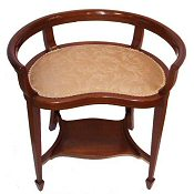 Edwardian inlaid kidney shaped piano stool