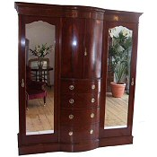 Edwardian inlaid combination wardrobe