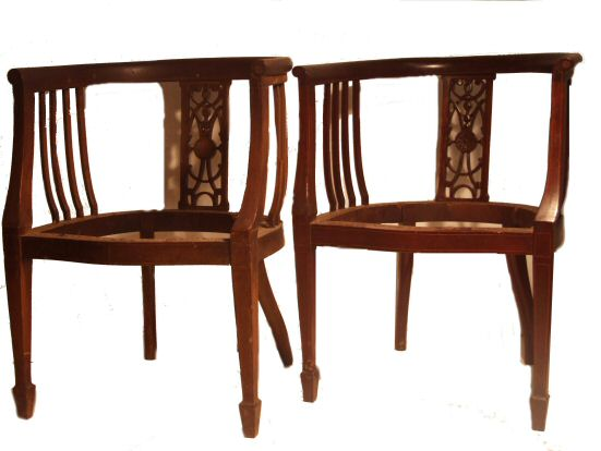 pair of Edwardian inlaid mahogany tub chairs from Harbour Antiques,  Bideford, Devon see other antique mirrors and antique gilt mirrors for sale - Pair Of Edwardian Inlaid Mahogany Tub Chairs From Harbour Antiques