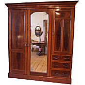 Edwardian inlaid mahogany combination wardrobe