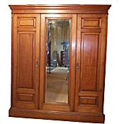 Edwardian walnut combination wardrobe