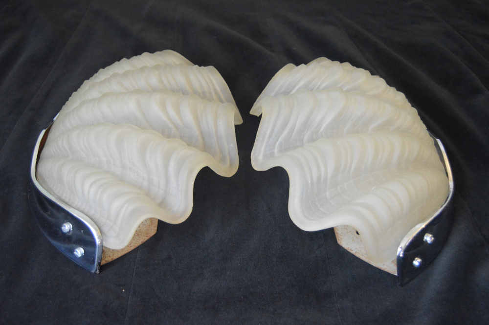 Of opaque art deco shell wall lights pair of opaque art deco shell wall lights mozeypictures