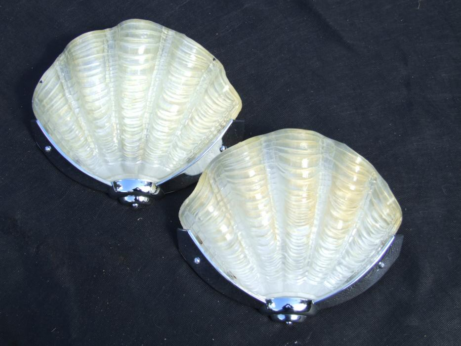 Of soft lemon art deco shell wall lights pair of soft lemon art deco shell wall lights mozeypictures