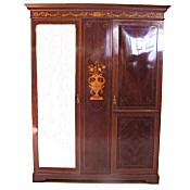 Highly decorative Edwardian inlaid combination wardrobe