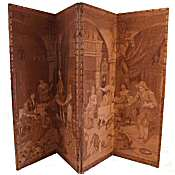 large Victorian tapestrey folding room screen
