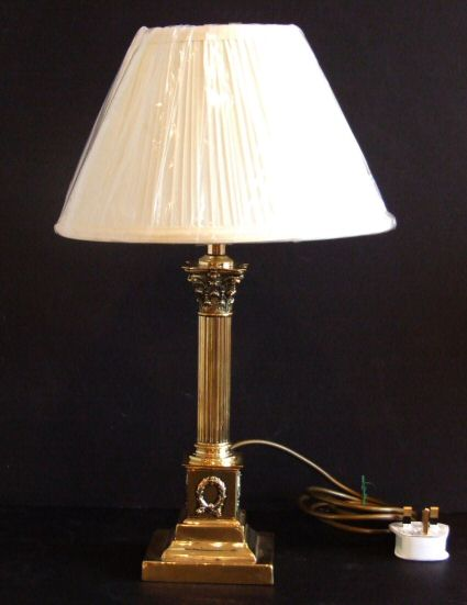 Edwardian antique corinthian column brass table lamp aloadofball Gallery