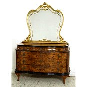 Italian Burr Walnut Antique serpentine dressing chest