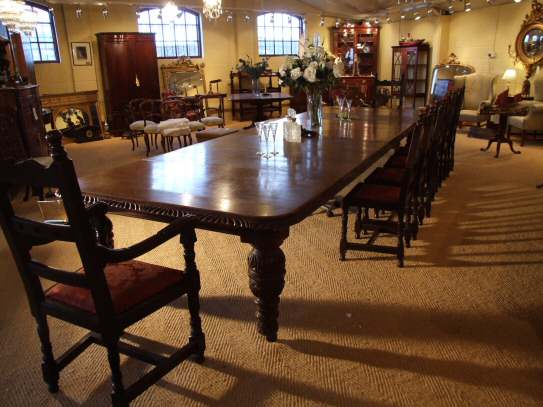 Victorian oak extending dining table to seat 20 people  : 30110920seatoakdiningtable03 from www.harbourantiques.com size 543 x 407 jpeg 35kB