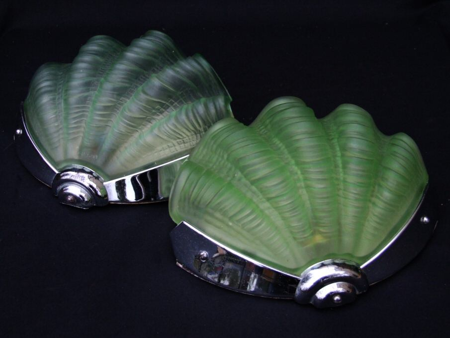 Pair Of Green Shell Art Deco Wall Lights
