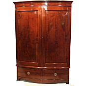 Edwardian inlaid bowfront wardrobe