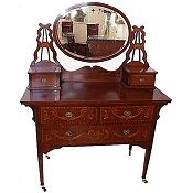 highly inlaid Edwardian mahogany dressing table