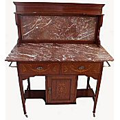 highly inlaid Edwardian marble top washstand