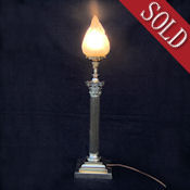 Very Large Late Victorian Corinthian Column Table Lamp