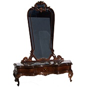 Spectacular Marble Top Italian Cheval Mirror