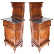 Mahogany Empire style antique bedside cabinets