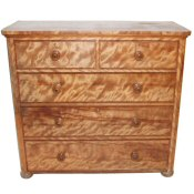 Victorian satin birch chest of drawers
